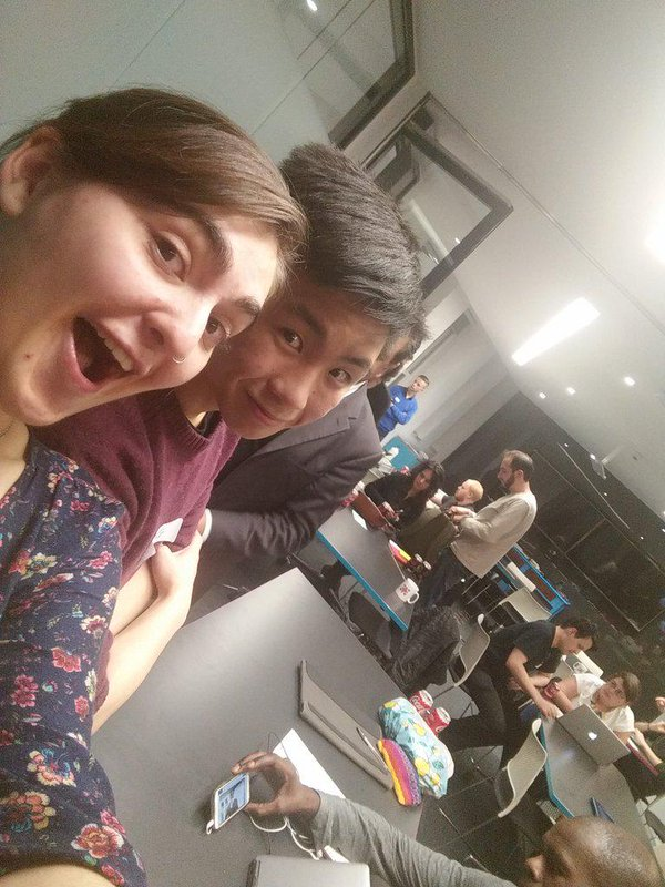 Selfie with Wing, an instructor at the very first Coding London meet-up in front of the students