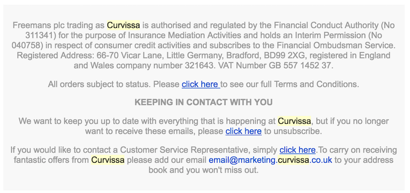 Curvissa's newsletter repeating Click Here, making it hard to skim