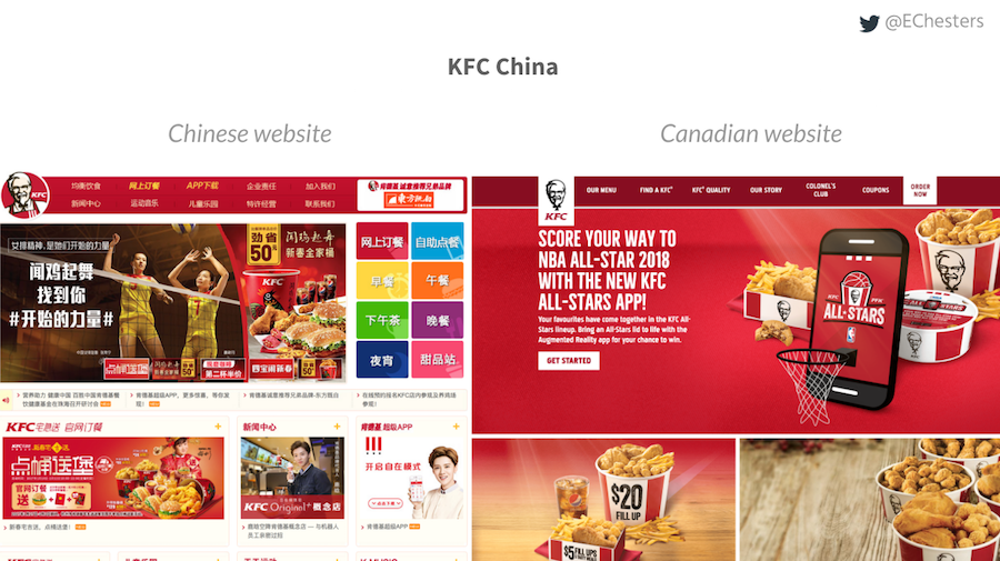 Comparison of the Chinese KFC website to the Canadian website. The Chinese site has more red in the elements rather than just backgrounds. Canadian website has a lot less adverts on the page and is less dense in information.